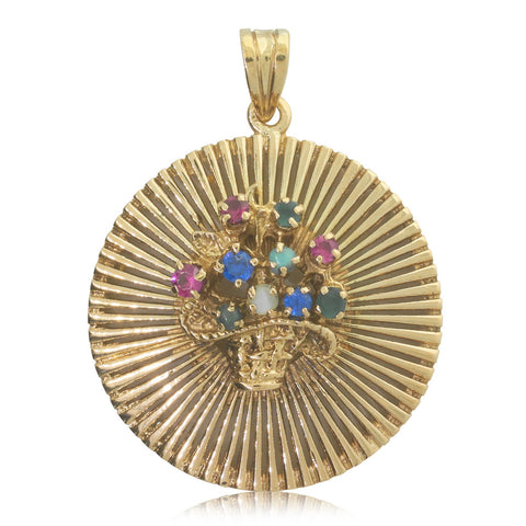 Vintage 18ct Yellow Gold Coloured Stone Bouquet Pendant - Walker & Hall