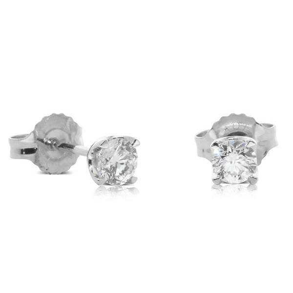 18ct White Gold .40ct Diamond Solitaire Studs - Walker & Hall