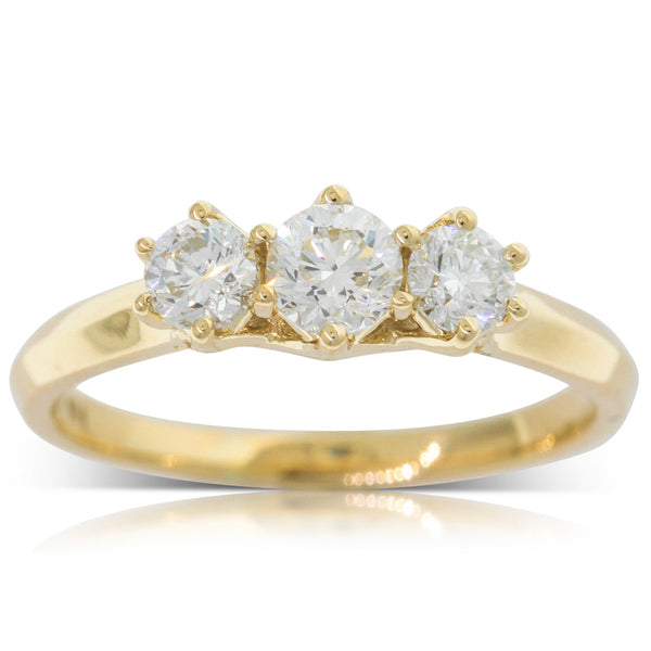9ct Yellow Gold Diamond Charis Ring - Walker & Hall