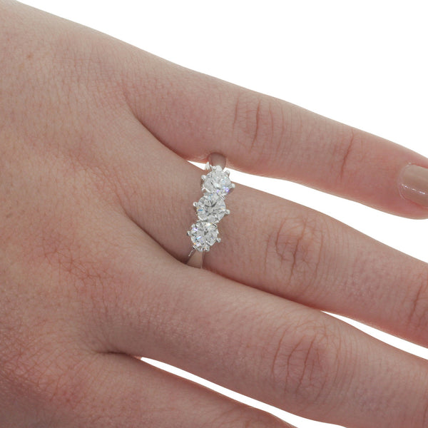 18ct White Gold 1.03ct Diamond Trilogy Ring - Walker & Hall