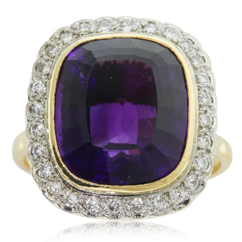 Vintage 18ct Yellow & White Gold Amethyst & Diamond Ring - Walker & Hall