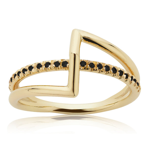 Meadowlark Pave Bolt Ring - 9ct Yellow Gold & Black Diamond - Walker & Hall