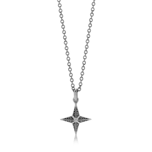 Meadowlark Faux Pave Star Charm Necklace - Sterling Silver - Walker & Hall