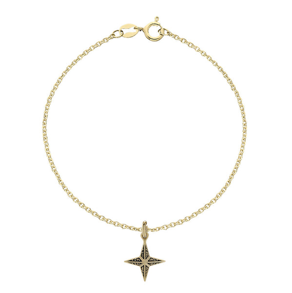 Meadowlark Faux Pave Star Charm Bracelet - 9ct Yellow Gold - Walker & Hall