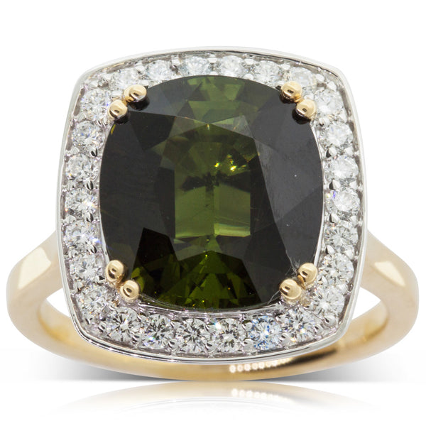18ct Yellow & White Gold Tourmaline & Diamond Dress Ring - Walker & Hall