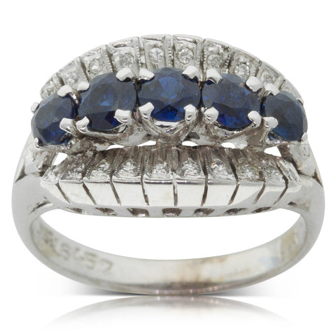 Vintage 18ct White Gold Sapphire & Diamond Dress Ring - Walker & Hall