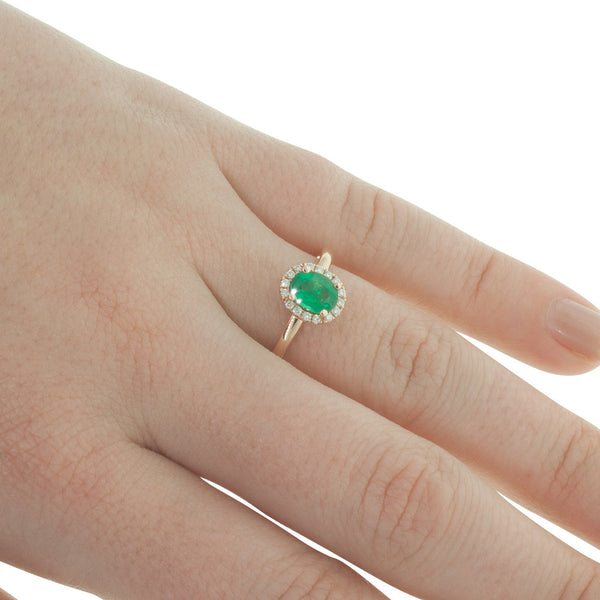 18ct Rose Gold Emerald & Diamond Ring - Walker & Hall