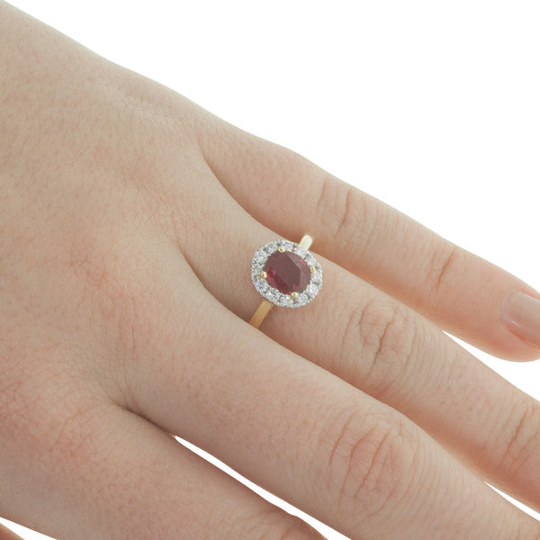 18ct White & Yellow Gold Ruby & Diamond Halo Ring - Walker & Hall