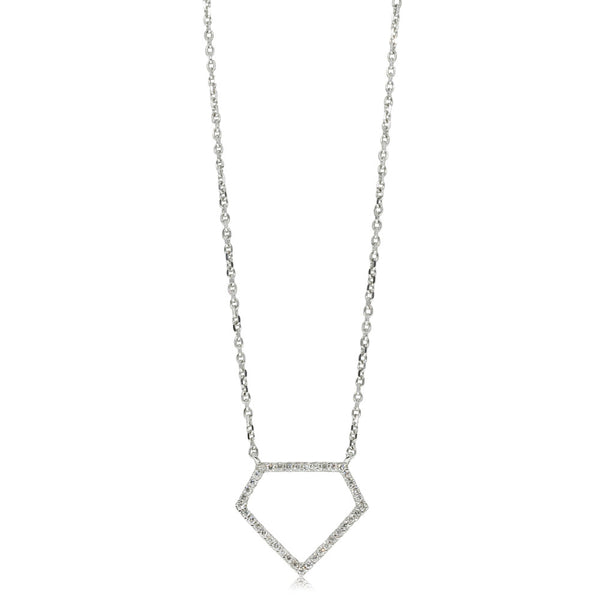 9ct White Gold Diamond Outline Pendant - Walker & Hall