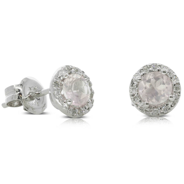 9ct White Gold Rose Quartz & Diamond Halo Studs - Walker & Hall
