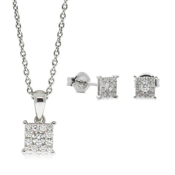 Gift Set - 9ct White Gold Diamond Square Cluster Pendant & Studs - Walker & Hall