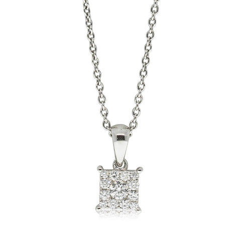 9ct White Gold .22ct Diamond Cluster Pendant - Walker & Hall
