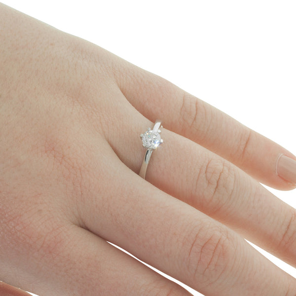 9ct White Gold .40ct Diamond Lunette Ring - Walker & Hall