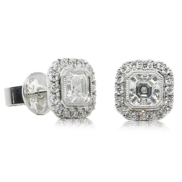 18ct White Gold 1.20ct Diamond Halo Studs - Walker & Hall
