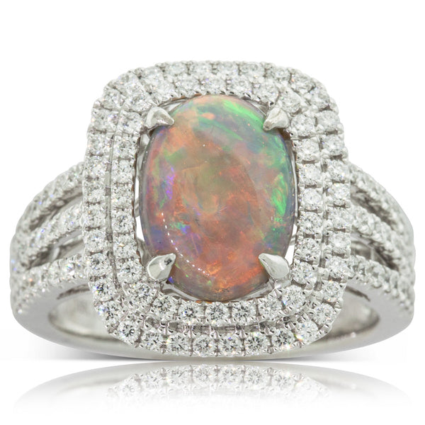 18ct White Gold Opal & Diamond Ring - Walker & Hall