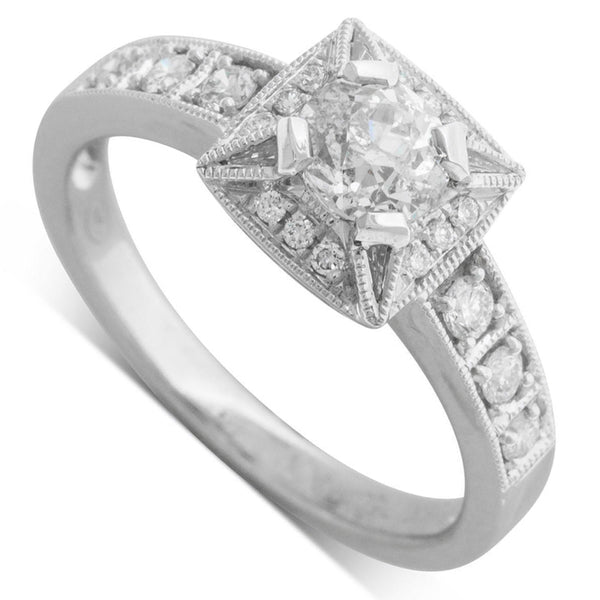 18ct White Gold .59ct Diamond Halo Ring - Walker & Hall