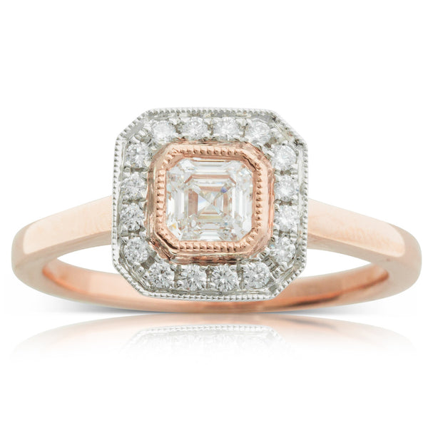 18ct White & Rose Gold .46ct Diamond Halo Ring - Walker & Hall
