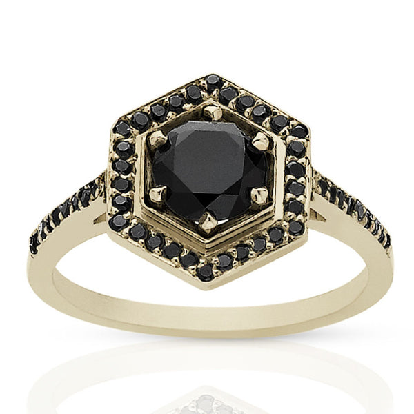 f39bdea476ef8 Meadowlark Hexagon Engagement Ring - 9ct Yellow Gold & Black Diamond