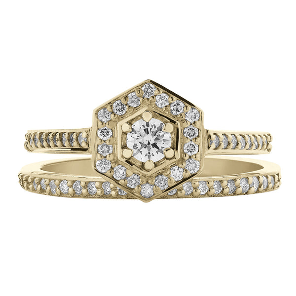 Meadowlark Mini Hex Engagement Ring - 9ct Yellow Gold - Walker & Hall