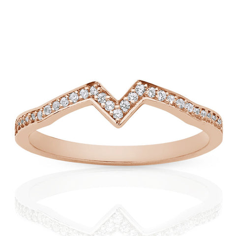 Meadowlark Inverted Star Band - 9ct Rose Gold - Walker & Hall