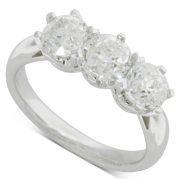 18ct White Gold 2.30ct Diamond Trilogy Ring - Walker & Hall