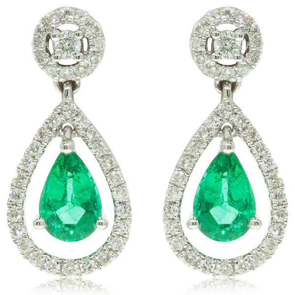 18ct White Gold Emerald & Diamond Drop Earrings - Walker & Hall
