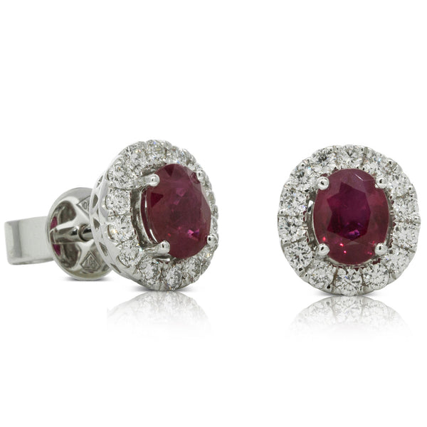 18ct White Gold Ruby & Diamond Halo Studs - Walker & Hall