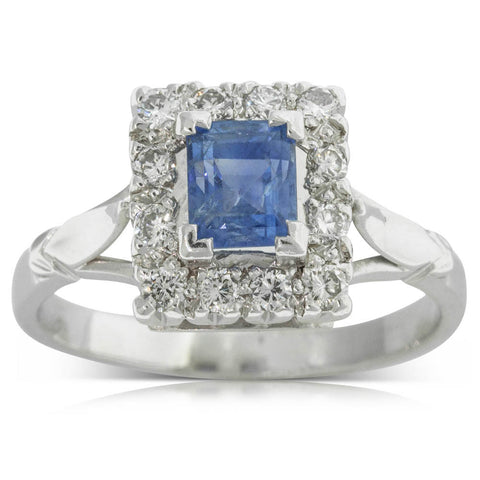 Vintage 18ct White Gold Sapphire & Diamond Ring - Walker & Hall