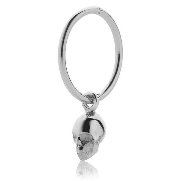 Meadowlark Micro Skull Endless Hoop Earring - Sterling Silver - Walker & Hall