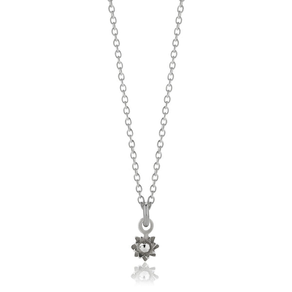 Meadowlark Micro Protea Charm Necklace - Sterling Silver - Walker & Hall