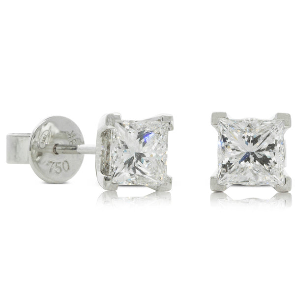 18ct White Gold 2.01ct Princess Cut Diamond Studs - Walker & Hall