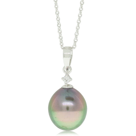 18ct White Gold Black Pearl And Diamond Pendant - Walker & Hall