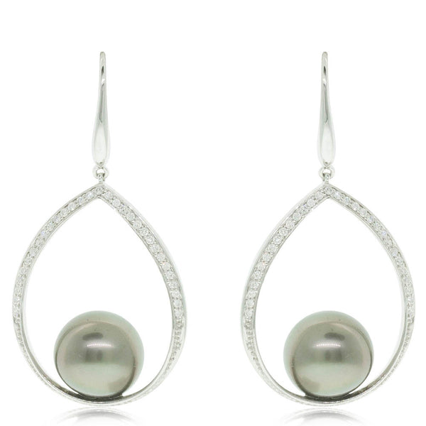 18ct White Gold Pearl & Diamond Drop Earrings - Walker & Hall