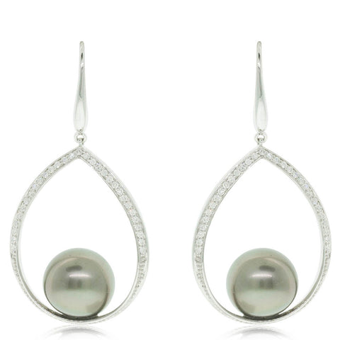 18ct White Gold Tahitian Black Pearl & Diamond Drop Earrings - Walker & Hall