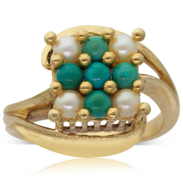Vintage 18ct Yellow Gold Turquoise & Pearl Ring - Walker & Hall