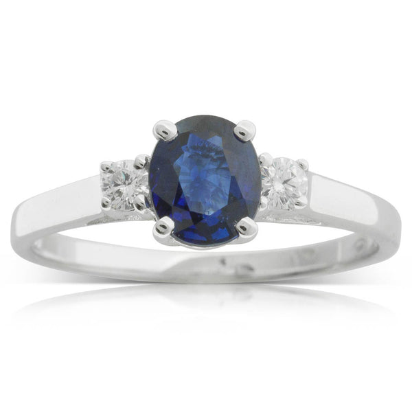 18ct White Gold Sapphire & Diamond Trilogy Ring - Walker & Hall