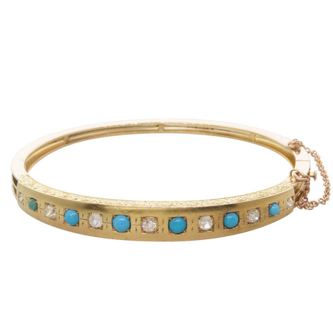 Vintage 15ct Rose & Yellow Gold Turquoise & Diamond Bangle - Walker & Hall