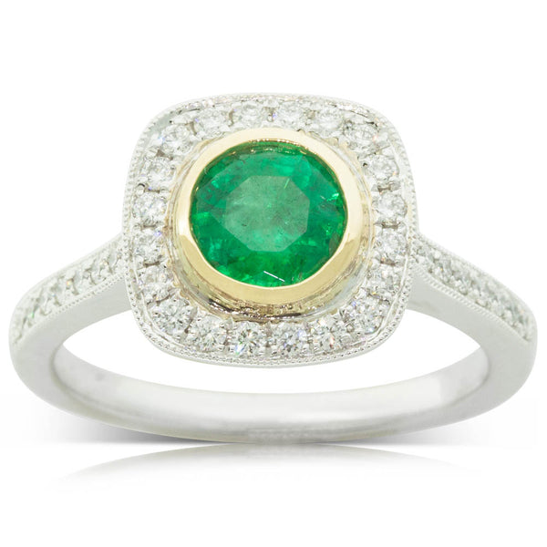 18ct White & Yellow Gold Emerald & Diamond Halo Ring - Walker & Hall