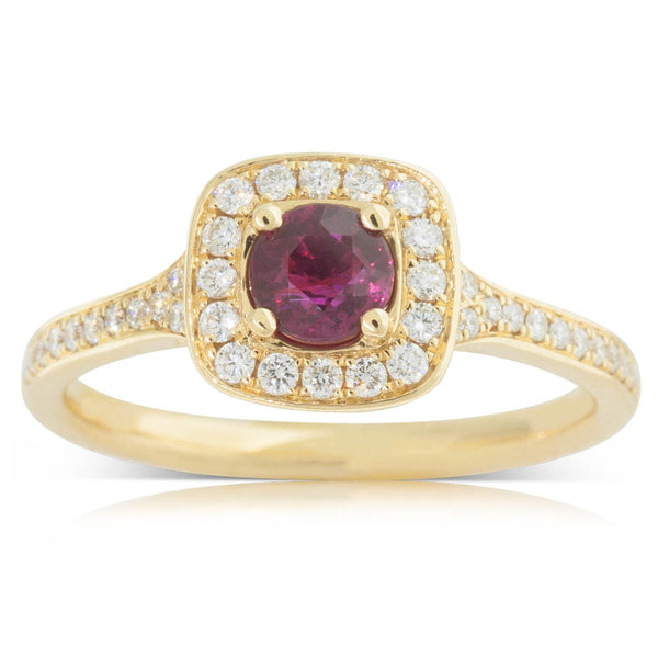 18ct Yellow Gold Ruby & Diamond Halo Ring