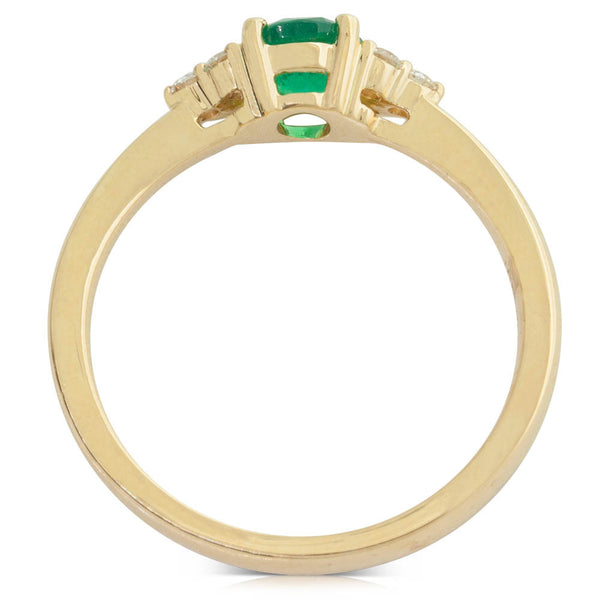 18ct Yellow Gold Emerald And Diamond Ring - Walker & Hall