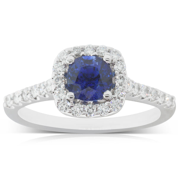 18ct White Gold 1.14ct Sapphire & Diamond Manhattan Ring - Walker & Hall