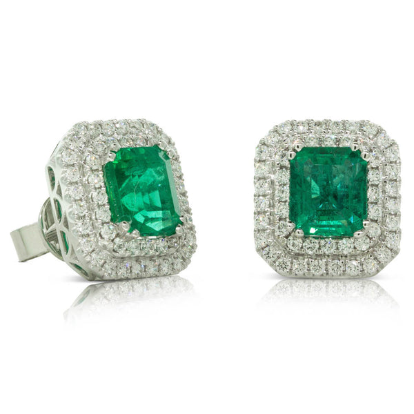 18ct White Gold Emerald & Diamond Halo Studs - Walker & Hall