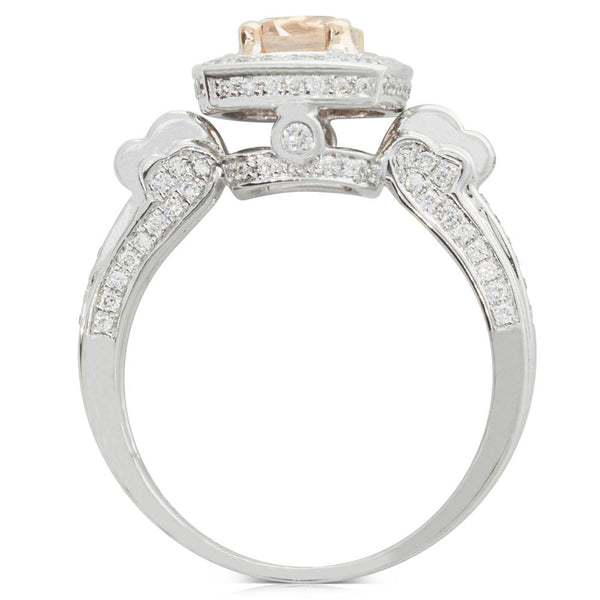 18ct White Gold Morganite & Diamond Ring - Walker & Hall