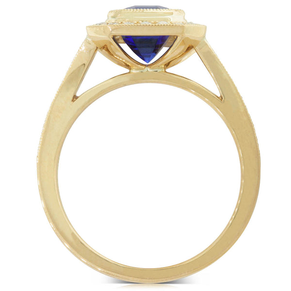 18ct Yellow Gold Tanzanite & Diamond Ring - Walker & Hall