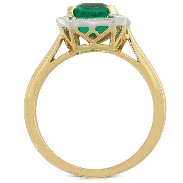 18ct Yellow & White Gold Emerald & Diamond Halo Ring - Walker & Hall