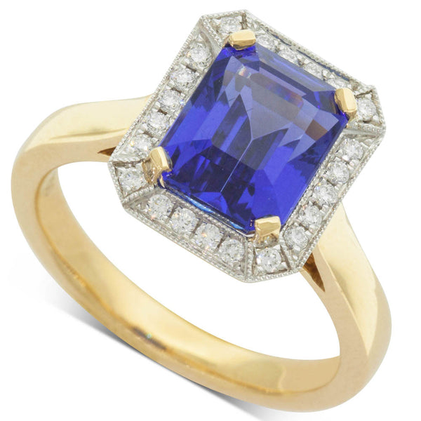 18ct Yellow & White Gold Tanzanite & Diamond Halo Ring - Walker & Hall
