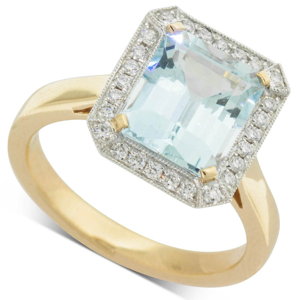 18ct White & Yellow Gold Aquamarine & Diamond Halo Ring