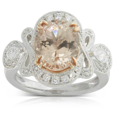 18ct White Gold 3.77ct Morganite & Diamond Ring - Walker & Hall