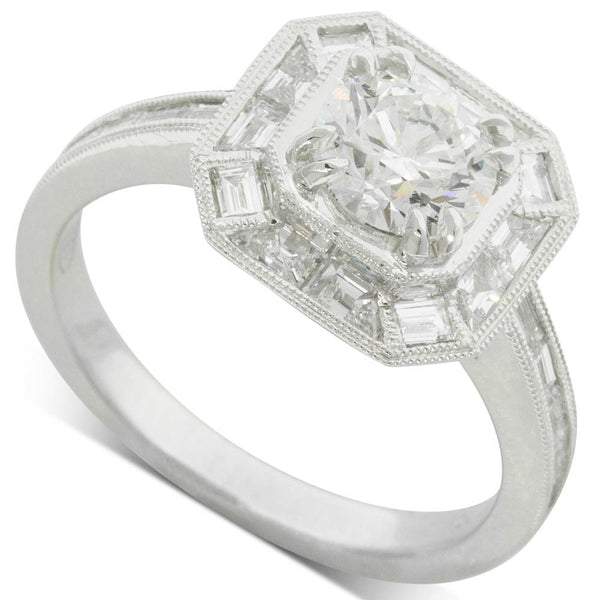18ct White Gold 1.00ct Diamond Halo Ring - Walker & Hall