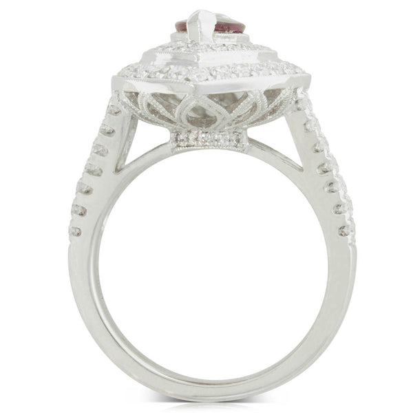 18ct White Gold Ruby & Diamond Halo Ring - Walker & Hall